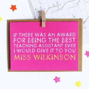 Personalised Teaching Assistant Card