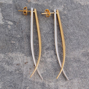 Gold And Silver Swing Tusk Drop Earrings