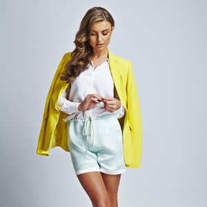 Mint With White Trims Silk Shorts