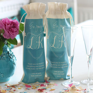 Personalised Wedding Wine And Champagne Bottle Bag