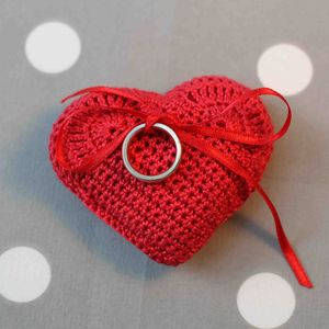 Crocheted Heart Wedding Ring Cushion - winter sale
