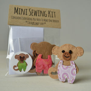 Mini Monkey Brooch Sewing Kit