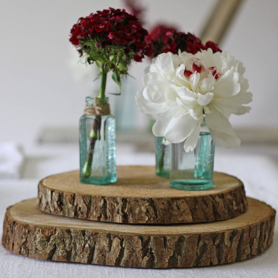 Wedding Table Decorations: Wooden Tree Slice Wedding Centrepiece Or Cake Stand By The