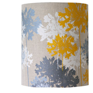 Yellow And Grey Linen Floral Lampshade