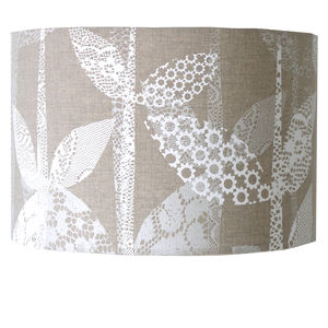 Hand Printed Lace Leaf Lampshade - lampshades