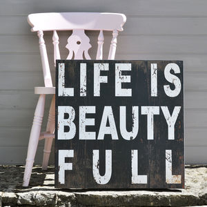 'Life Is Beauty Full' Wall Art - home sale