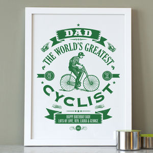 Personalised Dad's Cycling Print - gifts for cyclists