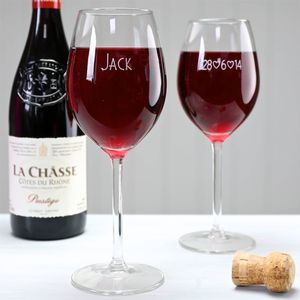 Personalised Engraved Date And Name Wine Glass - wedding favours