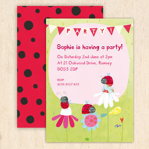 Personalised Ladybird Party Invitations