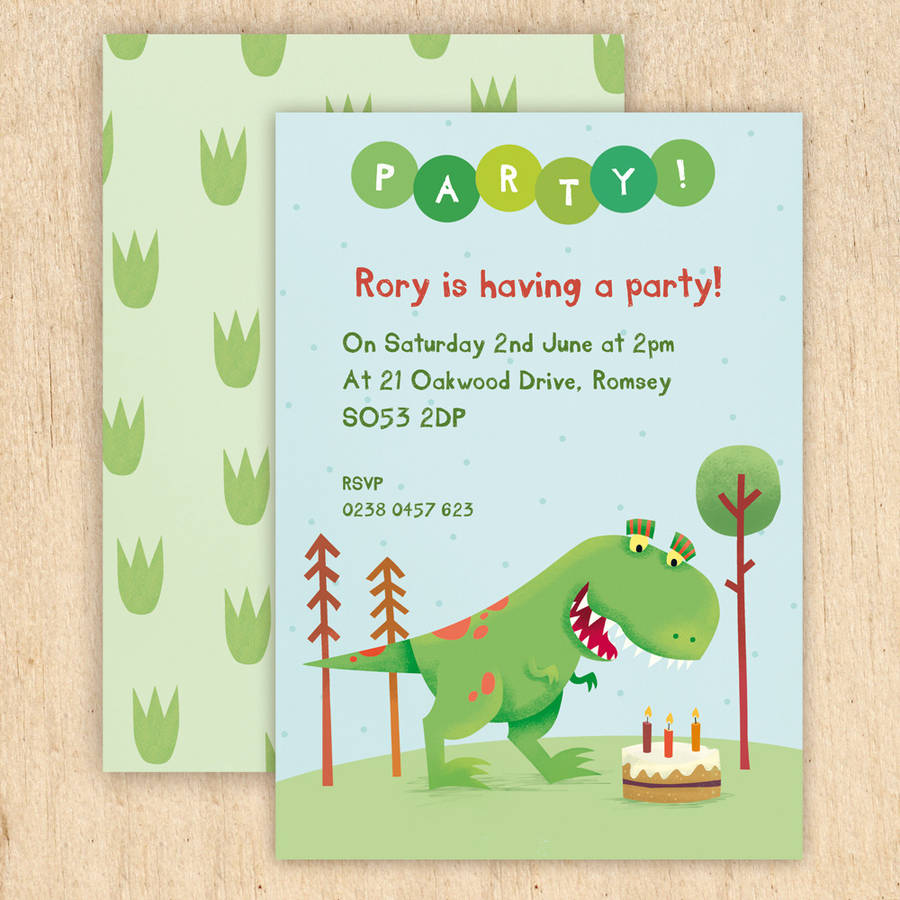 Personalised dinosaur party invitations by made by ellis personalised dinosaur party invitations filmwisefo