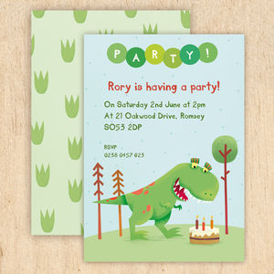 Personalised Dinosaur Party Invitations - children's parties