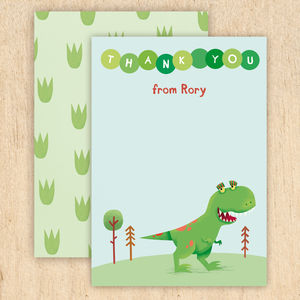 Personalised Dinosaur Thank You Cards - children's party invitations