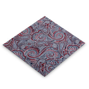 Mens Blue / Red Cotton Paisley Hanky Pocket Square