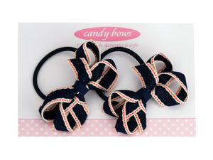 Navy Stitched Bobbles - hair accessories