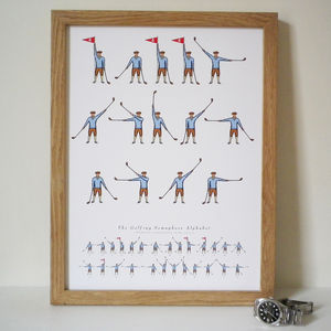 Personalised 'Daddy Loves Golf' Semaphore Print