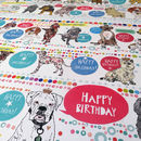 Recycled Birthday Dogs Wrapping Paper Three Sheets