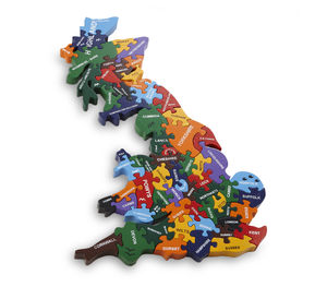 Handmade Wooden Map Of Britain Puzzle - toys & games