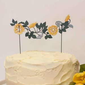 25% Off Rose Vine Flower Wedding Cake Topper - on trend: yellow & grey