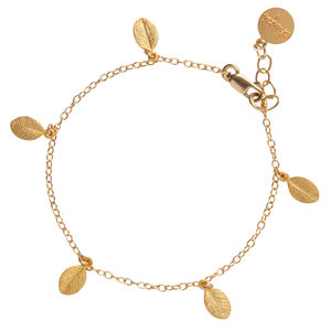 14k Gold 13 Leaves In The Forest Bracelet - bracelets & bangles