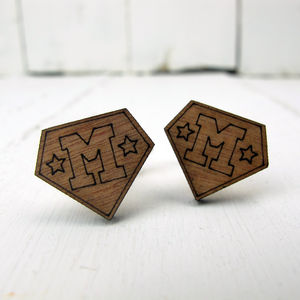 Engraved Personalised Super Initial Cufflinks - personalised accessories