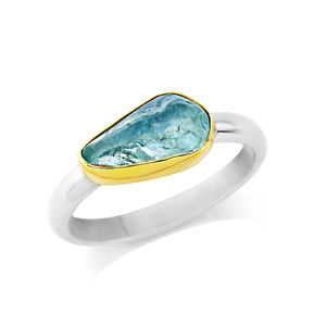 Rough Cut Aquamarine Ring Set In 18ct Gold - gold