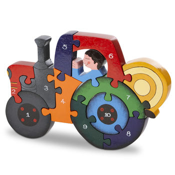 Handmade Wooden Number Tractor Puzzle