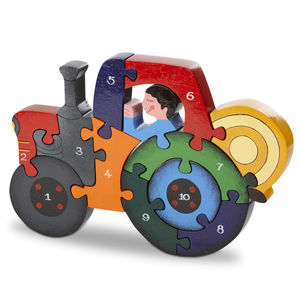 Handmade Wooden Number Tractor Puzzle - traditional wooden toys