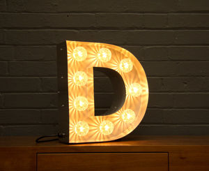 Light Up Marquee Bulb Letters D - table lamps