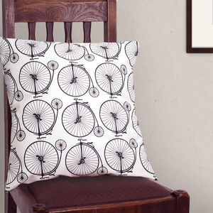 Penny Farthing Cushion - patterned cushions