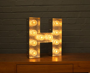 Light Up Marquee Bulb Letters H - table lamps