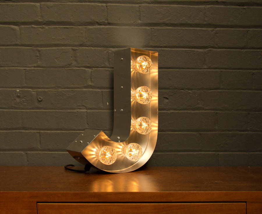 light up marquee bulb letters j