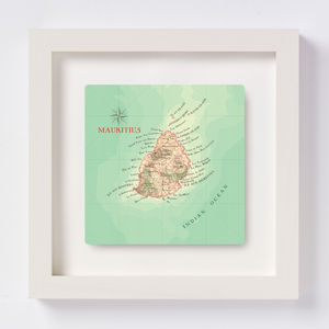 Personalised Mauritius Map Square Print Wedding Gift