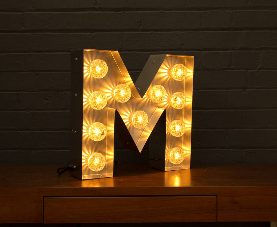 light up marquee bulb letters m