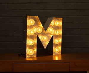 Light Up Marquee Bulb Letters M - wall lights