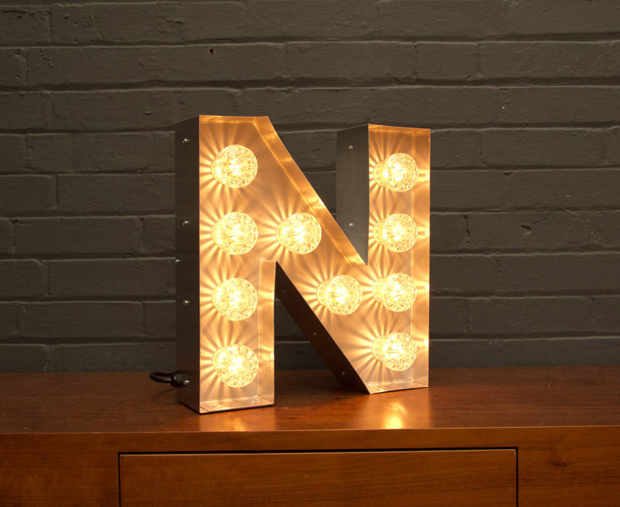 Light up marquee bulb letters n by goodwin goodwin for Light up letters