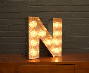 Light Up Marquee Bulb Letters N - lighting