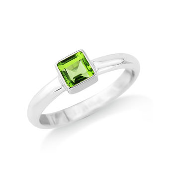Square Peridot Ring Set In 18ct Gold