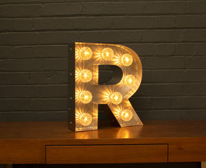 Light Up Marquee Bulb Letters R - furnishings & fittings