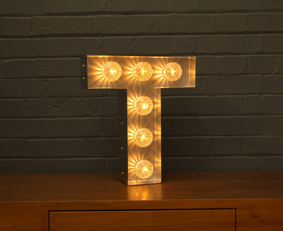 Light up marquee bulb letters t by goodwin goodwin for Lamp won t light up
