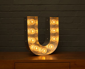 Light Up Marquee Bulb Letters U - furnishings & fittings