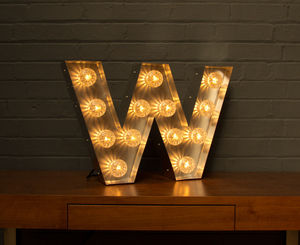 Light Up Marquee Bulb Letters W - lighting