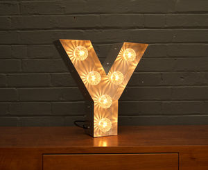 Light Up Marquee Bulb Letters Y - wall lights