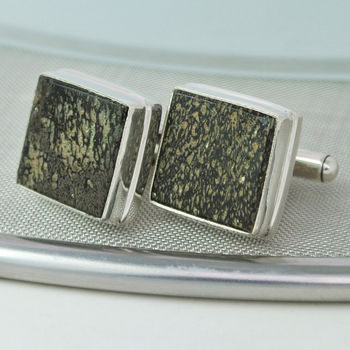 Option 1 Iguanodon Dinosaur Bone Cufflinks Square 16mm  x  16mm Set in Sterling Silver