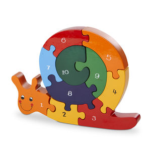 Handmade Wooden Number Snail Puzzle