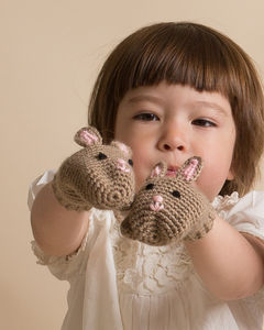 Hand Crochet Kids Bunny Mittens - handmade toys and games