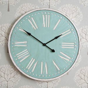 92cm Duck Egg Distressed Clock - home accessories