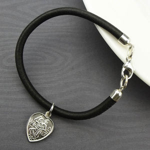 Silver St Christopher Heart Leather Bracelet