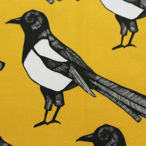Mischievous Magpie Fabric - throws, blankets & fabric