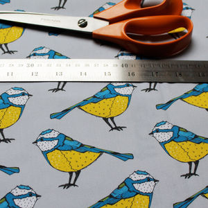 Bold Blue Tit Fabric - throws, blankets & fabric