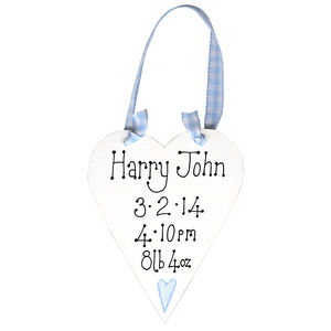 Personalised Baby's Message Heart - new baby gifts